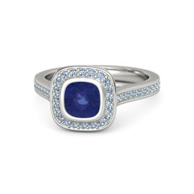 Cushion Sapphire 14K White Gold Ring with Blue Topaz