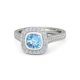 Cushion Blue Topaz 14K White Gold Ring with Diamond