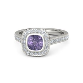 Cushion Iolite 14K White Gold Ring with Diamond