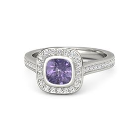 Cushion Iolite 14K White Gold Ring with White Sapphire