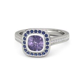 Cushion Iolite 14K White Gold Ring with Sapphire & White Sapphire