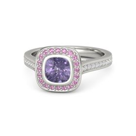 Cushion Iolite 14K White Gold Ring with Pink Tourmaline and White Sapphire
