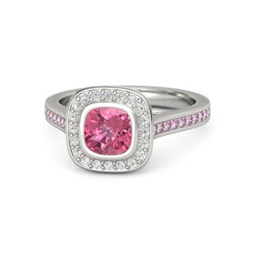 Cushion Pink Tourmaline 14K White Gold Ring with White Sapphire and Pink Sapphire
