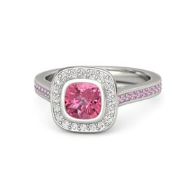 Cushion Pink Tourmaline 14K White Gold Ring with White Sapphire & Pink Tourmaline