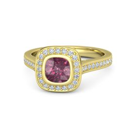 Cushion Rhodolite Garnet 14K Yellow Gold Ring with Diamond