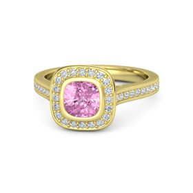 Cushion Pink Sapphire 14K Yellow Gold Ring with Diamond