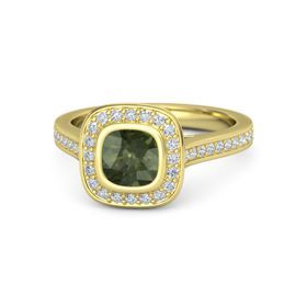 Cushion Green Tourmaline 14K Yellow Gold Ring with Diamond