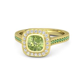 Cushion Peridot 14K Yellow Gold Ring with White Sapphire & Emerald