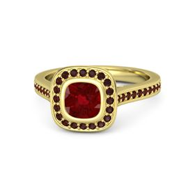 Cushion Ruby 14K Yellow Gold Ring with Red Garnet