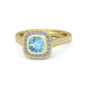 Cushion Blue Topaz 14K Yellow Gold Ring with Iolite and White Sapphire