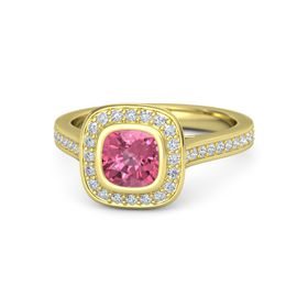 Cushion Pink Tourmaline 14K Yellow Gold Ring with Diamond