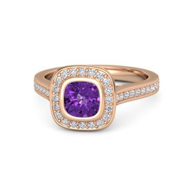 Cushion Amethyst 18K Rose Gold Ring with Diamond