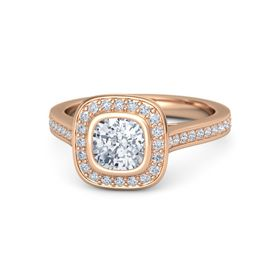 Cushion Diamond 18K Rose Gold Ring with Diamond
