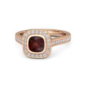 Cushion Red Garnet 18K Rose Gold Ring with Diamond