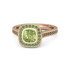 Cushion Peridot 18K Rose Gold Ring with Emerald and Green Tourmaline