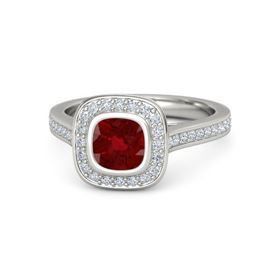 Cushion Ruby 18K White Gold Ring with Diamond