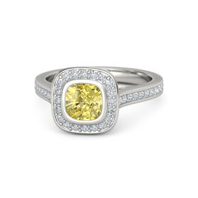 Cushion Yellow Sapphire 18K White Gold Ring with Diamond