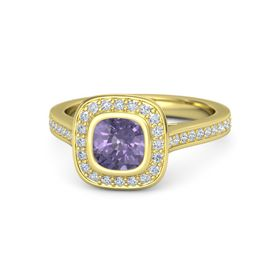 Cushion Iolite 18K Yellow Gold Ring with Diamond