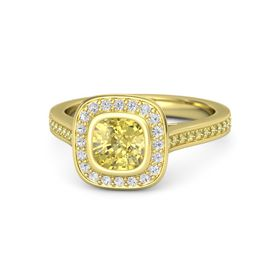 Cushion Yellow Sapphire 18K Yellow Gold Ring with White Sapphire and Yellow Sapphire
