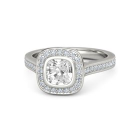 Cushion Rock Crystal Palladium Ring with Diamond