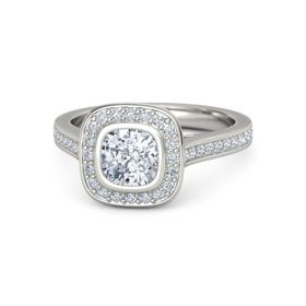 Cushion Diamond Palladium Ring with Diamond
