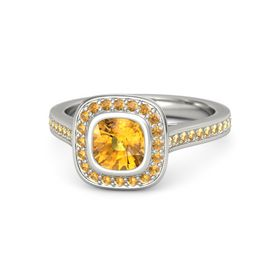 Cushion Citrine Palladium Ring with Citrine
