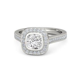 Cushion White Sapphire Palladium Ring with Diamond