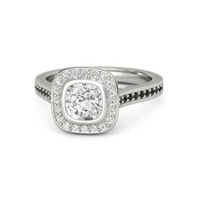 Cushion White Sapphire Palladium Ring with White Sapphire & Black Diamond