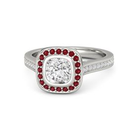 Cushion White Sapphire Palladium Ring with Ruby and White Sapphire