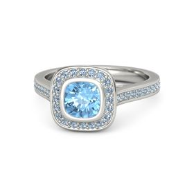Cushion Blue Topaz Palladium Ring with Blue Topaz