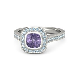 Cushion Iolite Palladium Ring with Aquamarine