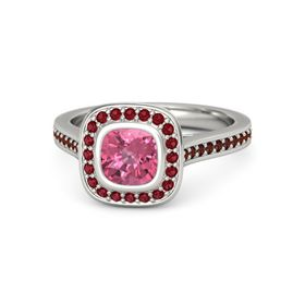 Cushion Pink Tourmaline Palladium Ring with Ruby & Red Garnet