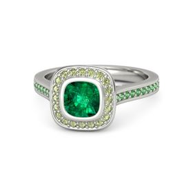 Cushion Emerald Platinum Ring with Peridot and Emerald