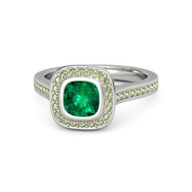 Cushion Emerald Platinum Ring with Peridot