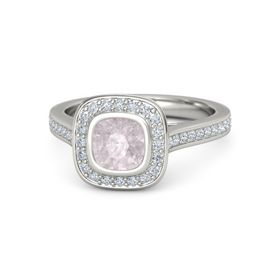 Cushion Rose Quartz Platinum Ring with Diamond
