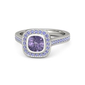 Cushion Iolite Platinum Ring with Iolite