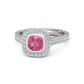 Cushion Pink Tourmaline Platinum Ring with Aquamarine