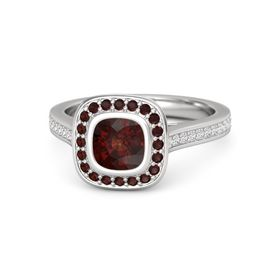 Cushion Red Garnet Sterling Silver Ring with Red Garnet and White Sapphire