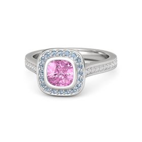 Cushion Pink Sapphire Sterling Silver Ring with Blue Topaz & White Sapphire