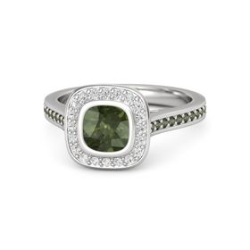 Cushion Green Tourmaline Sterling Silver Ring with White Sapphire and Green Tourmaline