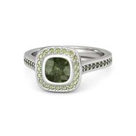 Cushion Green Tourmaline Sterling Silver Ring with Peridot and Green Tourmaline