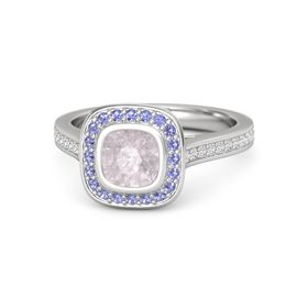 Cushion Rose Quartz Sterling Silver Ring with Iolite and White Sapphire