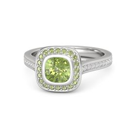 Cushion Peridot Sterling Silver Ring with Peridot & White Sapphire