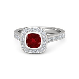 Cushion Ruby Sterling Silver Ring with Diamond
