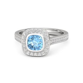 Cushion Blue Topaz Sterling Silver Ring with White Sapphire