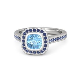 Cushion Blue Topaz Sterling Silver Ring with Blue Sapphire