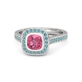 Cushion Pink Tourmaline Sterling Silver Ring with London Blue Topaz