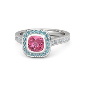 Cushion Pink Tourmaline Sterling Silver Ring with London Blue Topaz and Diamond