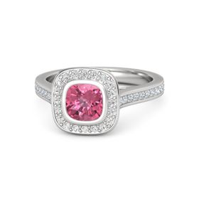 Cushion Pink Tourmaline Sterling Silver Ring with White Sapphire and Diamond