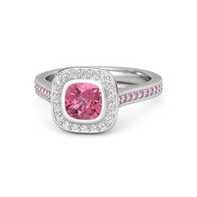 Cushion Pink Tourmaline Sterling Silver Ring with White Sapphire and Pink Sapphire